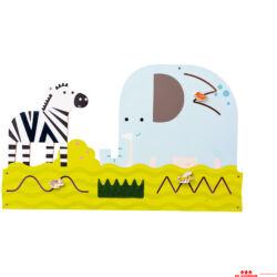 Manipulációs-szenzoros panel - Zebra és elefánt
